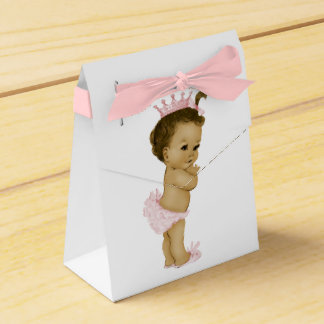 Pink Princess African American Baby Girl Shower Party Favor Boxes