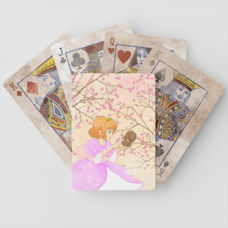 Pink Princess and squirrel with blossom Bicycle Poker Cards