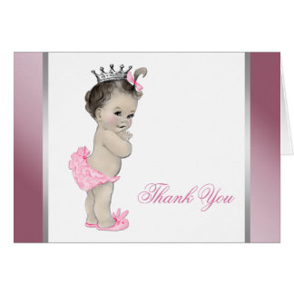 Pink Princess Baby Girl Thank You Card