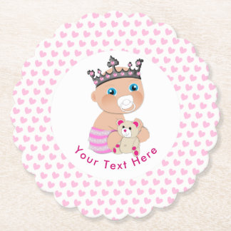 Pink Princess Baby Shower Personalized Paper Coaster