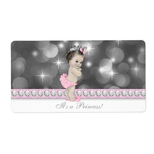 Pink Princess Baby Shower Water Bottle Labels