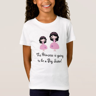 Pink Princess Big Sister - Black Hair T-Shirt