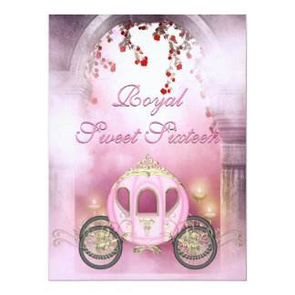 "Pink Princess Carriage Enchanted Sweet 16 6.5"" X 8.75"" Invitation Card"