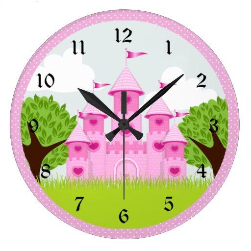 Pink Princess Castle Clock