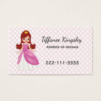 Pink Princess Childs or Mommy Networking Card