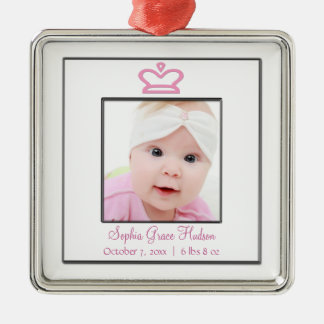 Pink Princess Crown Baby Girl Photo Ornament