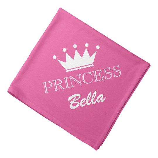 Pink princess crown dog bandana with custom name