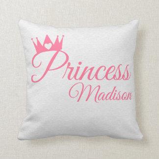 Pink Princess Crown Heart Tiara Personalized Name Throw Pillow