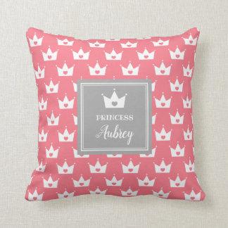 Pink Princess Crown Pattern - Calligraphy Name Throw Pillow