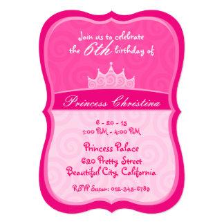 Pink Princess Crown Spirals Birthday Card