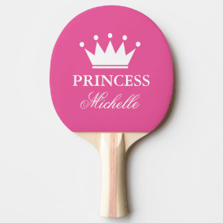 Pink princess crown table tennis ping pong paddle