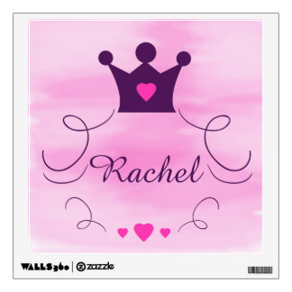 Pink Princess Crown Tiara Hearts Purple Baby Girl Wall Sticker
