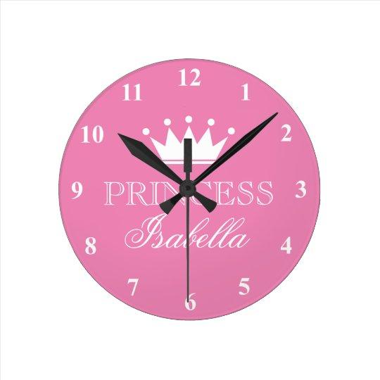 Pink princess crown wall clock for girls bedroom