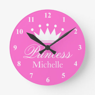 Pink princess crown wall clock with girls name