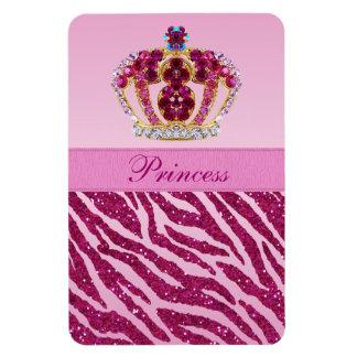 Pink Princess Crown Zebra Glitter Print Magnet