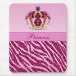 Pink Princess Crown Zebra Glitter Print Mousepad