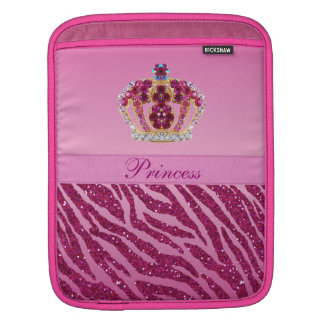 Pink Princess Crown Zebra Print Sleeve For iPads