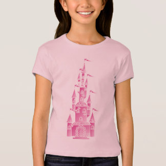 Pink princess fairy tale castle shirt young girl