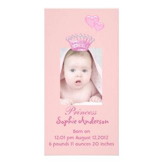 Pink Princess Girl Birth Announcement Photocard Card