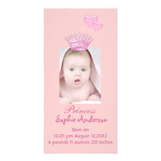Pink Princess Girl Birth Announcement Photocard Photo Cards