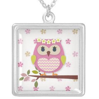 Pink Princess Owl Square Necklace