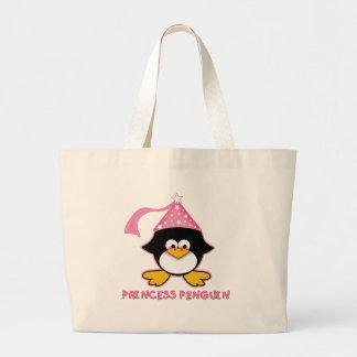 Pink Princess Penguin Large Tote Bag
