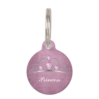 Pink Princess Pet Name Tag