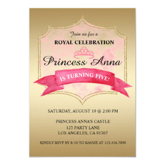 Pink Princess Royal Birthday Party invitation