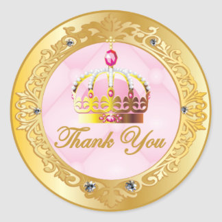 Pink Princess Thank You Stickers