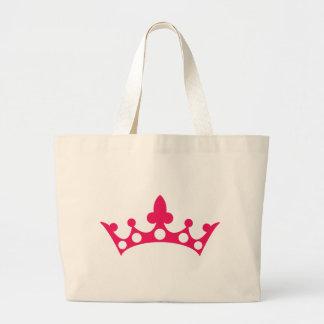 Pink Princess Tiara Large Tote Bag