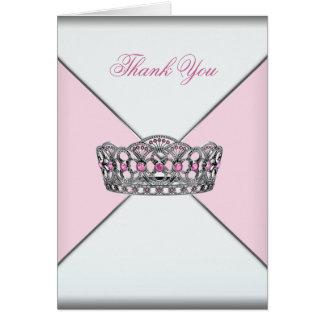 Pink Princess Tiara Thank You Cards
