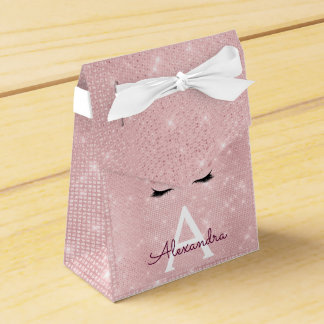 Pink Princess Unicorn Rose Gold Blush Pink Glitter Favor Box