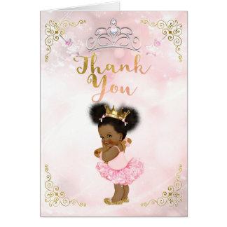 Pink Princess Vintage Baby Girl Ethnic Thank You Card