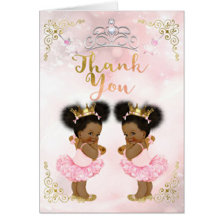 Pink Princess Vintage Baby Girl Twins Thank You Card