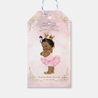 Pink Princess Vintage Black Baby Girl Shower Favor Gift Tags