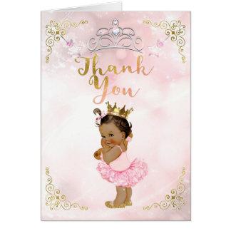 Pink Princess Vintage Tan Baby Girl Thank You Card