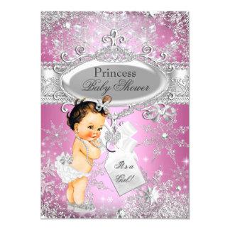 """Pink Princess Winter Wonderland Baby Shower Brown 5"""" X 7"""" Invitation Card"""