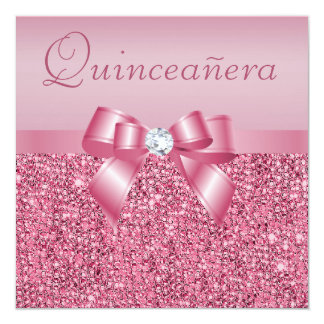 "Pink Printed Sequins & Bow Quinceanera 5.25"" Square Invitation Card"