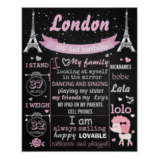Pink Puddle Paris Birthday Party chalkboard sign Poster
