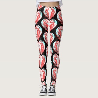 Pink Puffin Hearts Pattern Leggings