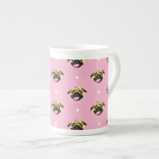 Pink Pug Pattern Bone China Mug