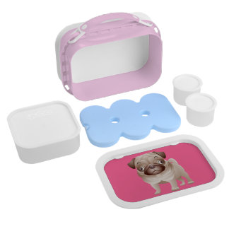 Pink Pug Puppy Dog Lunch Box