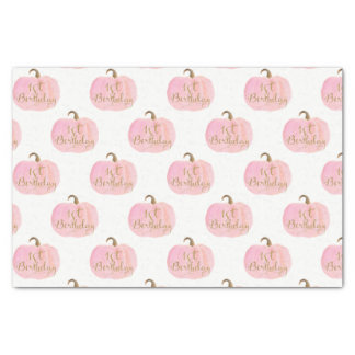 Pink Pumpkin Autumn Fall Gold 1st Birthday Party Tissue Paper