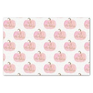 Pink Pumpkin Autumn Fall Gold 1st Birthday Party Tissue Paper