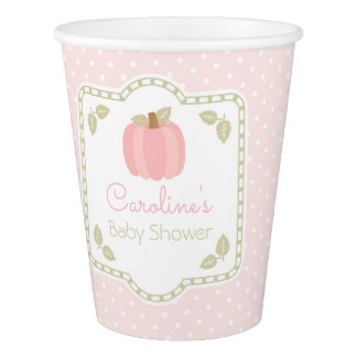 Pink Pumpkin Baby Shower Paper Cups