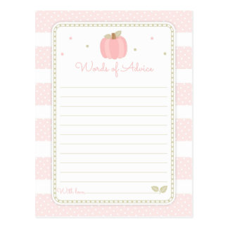 Pink Pumpkin Baby Shower Words of Advice Postcard