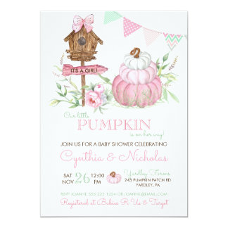 Pink Pumpkin Patch Birdhouse Girl Baby Shower Card