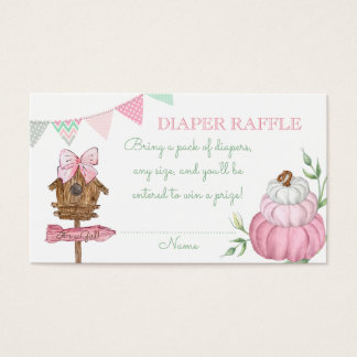 Pink Pumpkin Patch Diaper Raffle Business Card