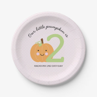 Pink Pumpkin Personalized Birthday Paper Plate