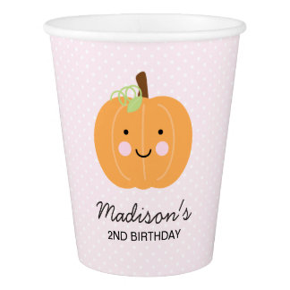 Pink Pumpkin Personalized Party Paper Cup